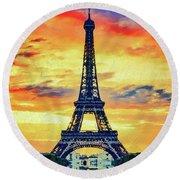 Eifel Tower In Paris Round Beach Towel