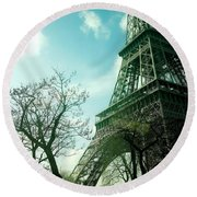 Eifell Tower View From Taxi II. Round Beach Towel