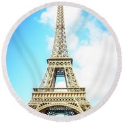Eiffel Tower Portrait Round Beach Towel