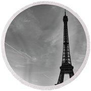 Eiffel Tower-4 Round Beach Towel