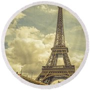 Eiffel Tower And Pont D'lena Vintage Round Beach Towel