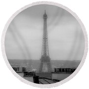 Eiffel Tower And Rooftops, Paris Round Beach Towel