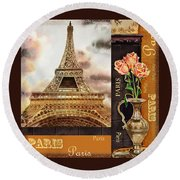 Eiffel Tower And Roses Round Beach Towel
