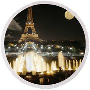 Eiffel Tower At Night Round Beach Towel