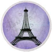 Eiffel Tower Collage Purple Round Beach Towel