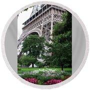 Eiffel Tower Garden Round Beach Towel