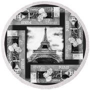 Eiffel Tower In Black And White Design I Round Beach Towel