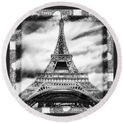 Eiffel Tower In Black And White Design II Round Beach Towel