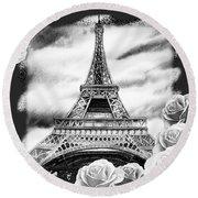 Eiffel Tower In Black And White Design IIi Round Beach Towel