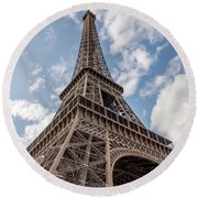 Eiffel Tower In Paris Round Beach Towel