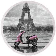 Eiffel Tower In The Rain With Pink Scooter Of Paris. Black And W Round Beach Towel