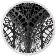 Eiffel Tower Leg Round Beach Towel