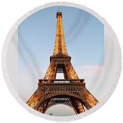 Eiffel Tower Lighted  Round Beach Towel