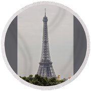 Eiffel Tower Over Trees And Statues Round Beach Towel