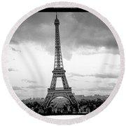 Eiffel Tower -panoramic. Round Beach Towel