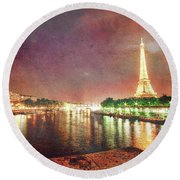 Eiffel Tower Reflections Round Beach Towel