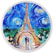 Eiffel Tower Starry Night Romance Round Beach Towel