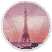 Eiffel Tower Sunset Art Round Beach Towel