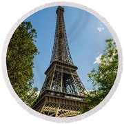 Eiffel Tower Through Trees Round Beach Towel