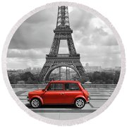 Eiffel Tower With Car. Black And White Photo With Red Element. Round Beach Towel
