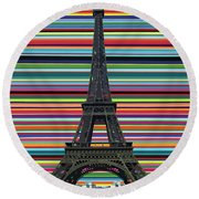 Eiffel Tower With Lines Round Beach Towel by Carla Bank