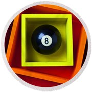 Eight Ball In Box Round Beach Towel by Garry Gay