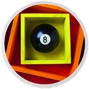 Eight Ball In Box Round Beach Towel