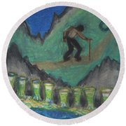 Eight Of Cups Illustrated Round Beach Towel