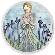 Eight Of Swords Illustrated Round Beach Towel