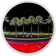 Eight Palms Drinking Wine Round Beach Towel by David Lee Thompson