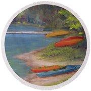 Eighth Lake Canoes Round Beach Towel