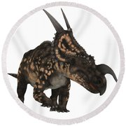 Einiosaurus On White Round Beach Towel