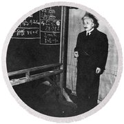 Einstein At Princeton University Round Beach Towel