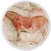 Ekain Cave Horse 2 Round Beach Towel