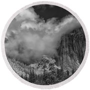 El Capitan And The Stormy Clouds Round Beach Towel
