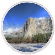 El Capitan Meadow Winter Yosemite National Park II Round Beach Towel
