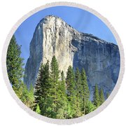 El Capitan Over The Merced River - Yosemite Valley Round Beach Towel