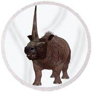 Elasmotherium On White Round Beach Towel