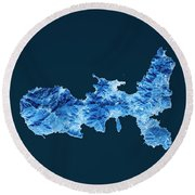Elba Island Topographic Map Blue Color Top View Round Beach Towel