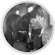Elderly Blacksmith Shoeing Horse Round Beach Towel