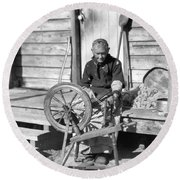 Elderly Woman Spinning Wool, C.1920s Round Beach Towel