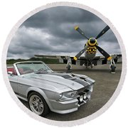 Eleanor Mustang With P51 Round Beach Towel