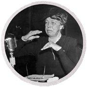 Eleanor Roosevelt At Hearing Round Beach Towel