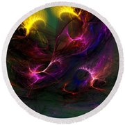 Electric Abstract 052510 Round Beach Towel