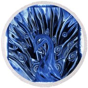 Electric Blues Peacock Round Beach Towel