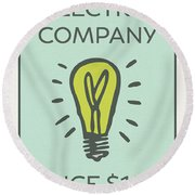 Electric Company Vintage Monopoly Board Game Theme Card Round Beach Towel