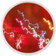 Electric Dazzle Abstract Round Beach Towel