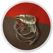 Electric Drill Motor, Green Trigger On Colored Paper Round Beach Towel