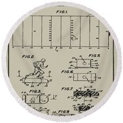 Electric Football Patent 1955 Aged Gray Round Beach Towel