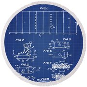 Electric Football Patent 1955 Blueprint Round Beach Towel